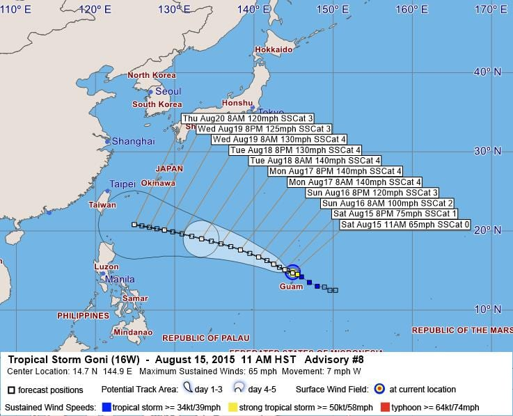 TROPICAL STORM 16W (GONI) WARNING